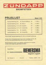Prijslijst Riemersma Zündapps 1978