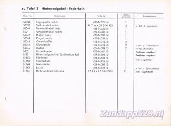Ersatzteil-Katalog zundapp 429 Hinterradgabel Achtervork