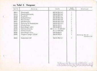 Ersatzteil-Katalog zundapp 429 Vergaser Carburateur